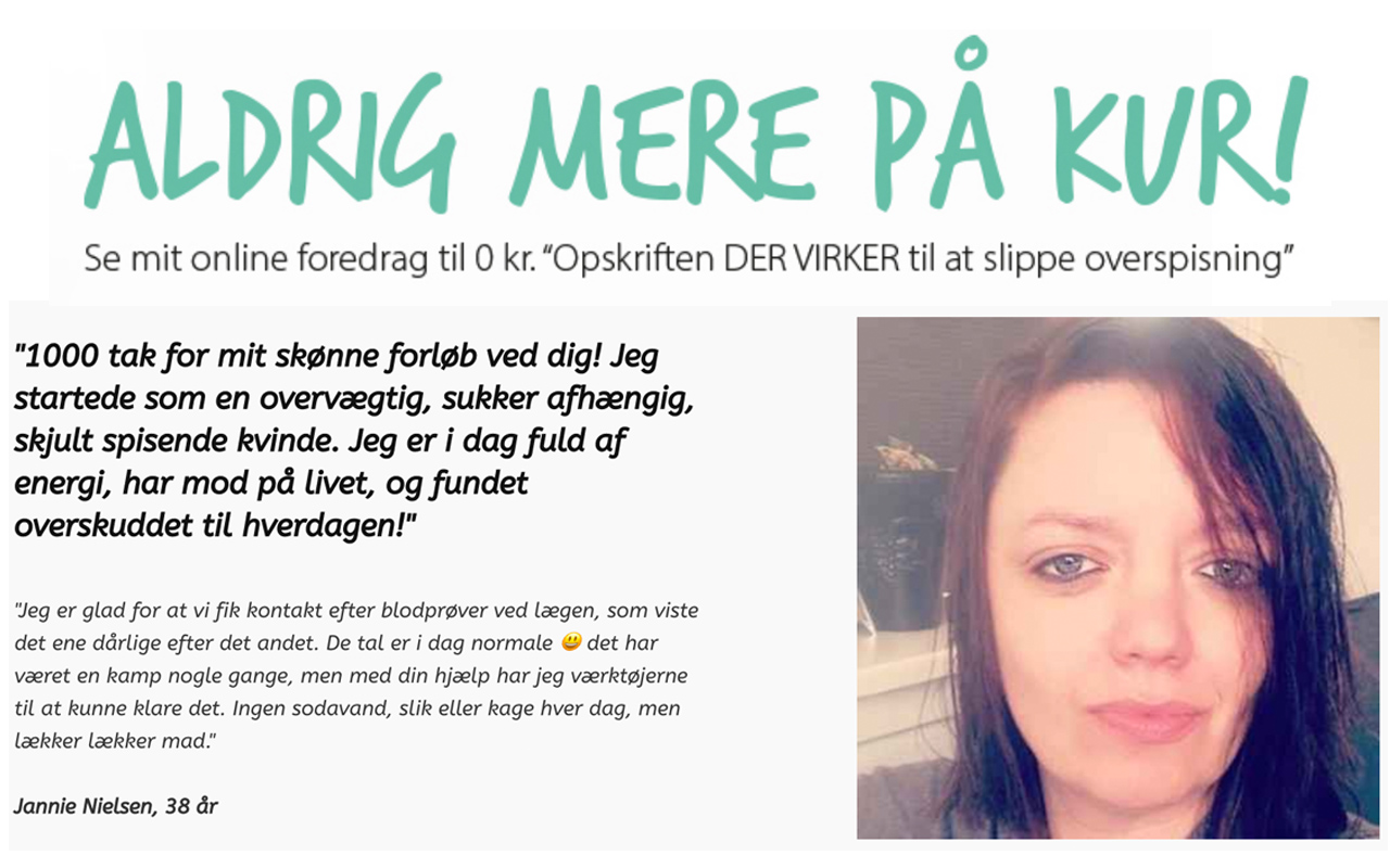 """ALDRIG MERE PÅ KUR - Se mit online foredrag til 0 kr """"Opskriften DER VIRKER til at slippe overspisning"""